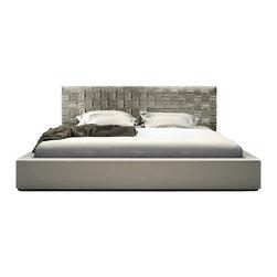 Modloft - Modloft Madison Bed in Dusty Grey Leather-Queen - Mod loft - Beds - MD335QGRY