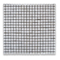 "Stone Center Corp - Seagrass Limestone Square Mosaic Tile 3/8x3/8 Tumbled - Seagrass Limestone 3/8"" x 3/8"" square pieces mounted on 12"" x 12"" sturdy mesh tile sheet"