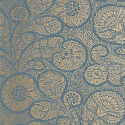Monterey Collection - Flat Shots - Troubadour wallpaper in Metallic Gold on Peacock Blue (T13065) from Thibaut's Monterey Collection