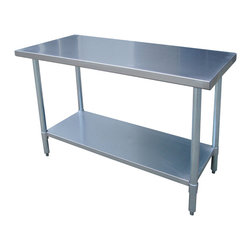 Buffalo Tools - Sportsman Series Stainless Steel Work Table - Stainless Steel Work Table 24 x 48 Inches by Sportsman Series The Sportsman Series Stainless Steel Work Center is the perfect addition to your kitchen, garage, or basement. A smooth 24 x 48 in. work surface is ideal for preparing and processing sauces, meats and vegetable, and is large enough to complete most arts and crafts projects . The 35 in. H is ideal for cooking and working without making your back ache. Adjustable galvanized metal shelf fits under the table and provides additional storage space for supplies. Curved edges help prevent injuries from accidental bumping and injury.  Attractive contemporary design fits into any decor. Max weight capacity 330 lbs. Constructed from 18 gauge 420 stainless steel for durability and easy cleaning Adjustable galvanized metal shelf for storing appliances and supplies Rounded edges for safety Measures 24 in. W x 48 in. L x 35 in. H Max weight capacity 330 lbs Assembles in minutes No-mar plastic feet that adjust to create a level working surface
