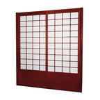 """Oriental Furniture - 7 ft. Tall Zen Shoji Sliding Door Kit (Double - Sided) - Rosewood - This fantastic Zen Shoji Sliding Door Kit (Double-Sided) comes with sliding doors, top and bottom tracks, and right and left door jambs. Rough opening (outside dimension) approximately 83.00""""H x 73.50""""W x 3.50""""D. Tracks and jambs are approximately 1.75"""" Thick x 3.50"""" Deep. Each door measures approx. 36.00""""W x 80.00""""H x 1.00""""D."""