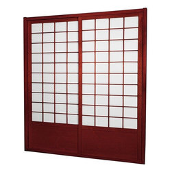 "Oriental Furniture - 7 ft. Tall Zen Shoji Sliding Door Kit (Double - Sided) - Rosewood - This fantastic Zen Shoji Sliding Door Kit (Double-Sided) comes with sliding doors, top and bottom tracks, and right and left door jambs. Rough opening (outside dimension) approximately 83.00""H x 73.50""W x 3.50""D. Tracks and jambs are approximately 1.75"" Thick x 3.50"" Deep. Each door measures approx. 36.00""W x 80.00""H x 1.00""D."