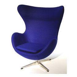 Fine Mod Imports - Arne Jacobsen Style Egg Chair Fabric Blue - This wonderful Arne Jacobsen style chair features a molded fiber-glass frame, fire retardant polyurethane foam padding, and covered with 100% wool fabric