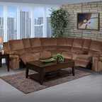 New Classic Covington Living Room Collection - Gather the family together with the relaxing comfort of the Covington Sectional. Perfect for movie night or a get together, New Classic Furniture Covington Collection maximizes seating and function with built in drink holders and between arm storage compartments. Available in Lava Brown color.
