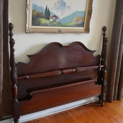 "Mahogany Four Poster Bed SOLD - Classy vintage double bed.  Headboard H51"" Footboard H18"" Comes with rails and splats.  FREE DELIVERY in Toronto area, Vaughan, Newmarket etc. Check for new arrivals frequently www.myparisapartment.ca.  Monica Vida"