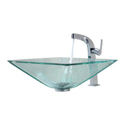 Kraus - Kraus Clear Aquamarine Glass Vessel Sink and Typhon Faucet Chrome - *Add a touch of elegance to your bathroom with a glass sink combo from Kraus