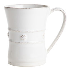 Juliska - Berry and Thread White Mug - The generous size of this mug allows for more steaming hot coffee on foggy mornings before heading out to the office or a round of golf. It is equally as lovely filled with hot chocolate for a fireside rendezvous with your sweetheart.