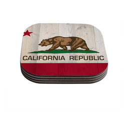 "Kess InHouse - Bruce Stanfield ""California Flag Wood"" Brown Coasters (Set of 4) - Now you can drink in style with this KESS InHouse coaster set. This set of 4 coasters are made from a durable compressed wood material to endure daily use with a printed gloss seal that protects the artwork so you don't have to worry about your drink sweating and ruining the art. Give your guests something to ooo and ahhh over every time they pick up their drink. Perfect for gifts, weddings, showers, birthdays and just around the house, these KESS InHouse coasters will be the talk of any and all cocktail parties you throw."