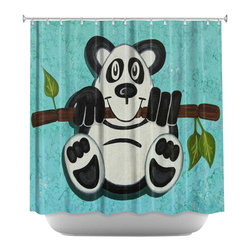 DiaNoche Designs - Shower Curtain Artistic - Panda Bear - DiaNoche Designs works with artists from around the world to bring unique, artistic products to decorate all aspects of your home.  Our designer Shower Curtains will be the talk of every guest to visit your bathroom!  Our Shower Curtains have Sewn reinforced holes for curtain rings, Shower Curtain Rings Not Included.  Dye Sublimation printing adheres the ink to the material for long life and durability. Machine Wash upon arrival for maximum softness. Made in USA.  Shower Curtain Rings Not Included.