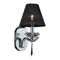 """Worldwide Lighting - Gatsby 1 Light Chrome Finish Crystal Wall Sconce with Black String Shade 7"""" W - This stunning 1-light wall sconce only uses the best quality material and workmanship ensuring a beautiful heirloom quality piece. Featuring a radiant chrome finish, beautiful curved arms with black string shade which support one candelabra lights and crystal embellishments made of finely cut premium grade 30% full lead crystal, this chandelier will give any room sparkle and glamour. Worldwide Lighting Corporation is a privately owned manufacturer of high quality crystal chandeliers, pendants, surface mounts, sconces and custom decorative lighting products for the residential, hospitality and commercial building markets. Our high quality crystals meet all standards of perfection, possessing lead oxide of 30% that is above industry standards and can be seen in prestigious homes, hotels, restaurants, casinos, and churches across the country. Our mission is to enhance your lighting needs with exceptional quality fixtures at a reasonable price."""