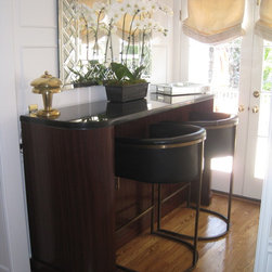 Joni Koenig Interiors - Custom mini bar with functional bar ware storage.