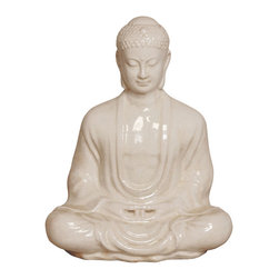 "Kathy Kuo Home - Antique White Ceramic Meditating Buddha Lotus Seat Sculpture- 30""H - Seated with eyes gently cast down in deep meditation, this Meditating Buddha statue is the physical embodiment of reaching the enlightened state."