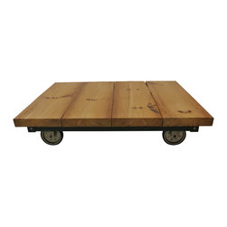 eastmantribe - Magazine Table - Made from reclaimed wood beams, angle iron and repurposed wheels, this cool magazine table is coated in high grade urethane that will preserve its look for years to come.