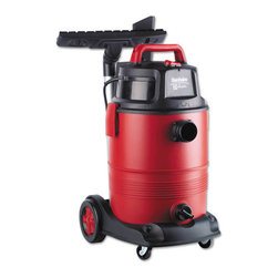 Electrolux Sanitaire - Electrolux Sanitaire Commercial Wet Dry Vacuum, 11.5A, 8Gal, 12lb, Red - Powerful two-stage motor provides excellent suction. Low-noise operation, making it perfect for use in closed-in areas. Dent-resistant polypropylene tank, with rugged, quick-clip latches and drain cap, ensures long-lasting durability. Extra-large 1 1/2-inch-diameter hose helps prevent clogs. On-board tool tray keeps the two-piece metal wand, floor tool with squeegee, crevice tool and dusting brush organized and handy. Easy to maneuver, thanks to smooth-swivel metal casters. Lightweight.