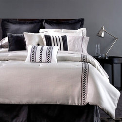 Joseph Abboud - Joseph Abboud Modern Tweed 4-piece Comforter Set - This black and white hued comforter will add style to your bedroom. Made of cotton and polyester,this comforter set is comfortable and elegant.