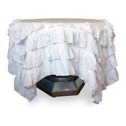 Pom Pom at Home Audrey - Cotton -  White - Medium Tablecloth - A lush spill of deep ruffles dresses your square or round table in transitional glamor, while the simplicity of pure white and the practicality of cotton fabric keep the look domestic and down-to-earth.  The Audrey Small Tablecloth's voile details soften sharp angles and lighten the air of an over-formal dining room or breakfast nook, striking the perfect balance between formality and casual, pleasant invitation while contributing a traditional charm.