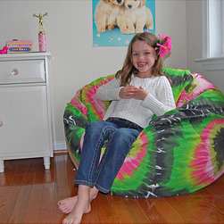 Ahh Products - Ahh Products Pink and Green Tie Dye Cotton Washable Bean Bag Chair - This adorable bean bag chair is perfect for your child. Featuring a washable cotton cover,water-repel liner,and double stitched seams,this bean bag chair is sure to be a favorite in your home.