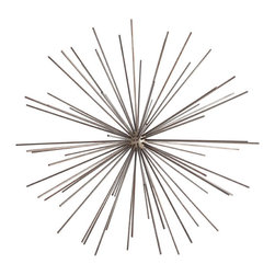 "Kathy Kuo Home - Winnipeg Large Modern Urchin Dandelion Sculpture - Space age style can sometimes be a little camp.  Not the case with this spikey, mid century inspired contemporary iron wall sculpture.  Sleek and sharp, this piece adds a touch of futurism to contemporary spaces without getting ""lost in space""."