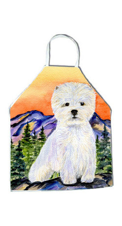 Caroline's Treasures - Westie Apron SS8159APRON - Apron, Bib Style, 27 in H x 31 in W; 100 percent  Ultra Spun Poly, White, braided nylon tie straps, sewn cloth neckband. These bib style aprons are not just for cooking - they are also great for cleaning, gardening, art projects, and other activities, too!
