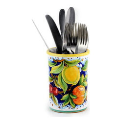 Artistica - Hand Made in Italy - DERUTA FRUTTA: Flatware - Utensil Holder - DERUTA FRUTTA Collection: Masterfully hand painted in Deruta Italy this collection features one of the most painstakingly painted fruits and leaves pattern exclusively made for Artistica by a small artisan shop located in the renown Via Tiberina that cross through Deruta.
