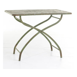 Iron Garden Table - I love dining on my back porch, feeling the breeze and watching the sun set in the western sky. What's the point of having a porch if you can't enjoy a meal out there?