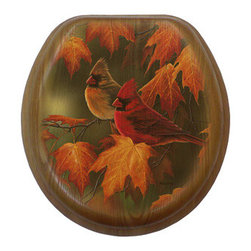 Comfort Seats a Jones Stephens Corp. - Maple Leaves & Cardinals Round Oak w/Antique Brass Toilet Seat - Product Feature: