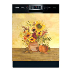 Appliance Art - Appliance Art 'Colors of Fall' Dishwasher Cover - Why stop at the walls when decorating your kitchen? This floral-themed,magnetic dishwasher cover allows you to spread the decor to your dishwasher. The fall harvest theme is perfect for the holidays,and the cover can be trimmed for a custom fit.