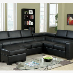 Modern Black Leather Sectional Sofa Couch Reversible Chaise Adjustable - A great addition to a modern home, this elegant sectional has a built-in chaise. Modular in design, this set may be assembled in three different ways to accomodate any living space. Three great colors to choose from: white, gray and black.