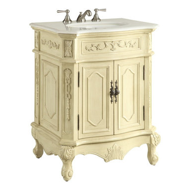 """Benton Colleciton - 27"""" Traditional Spenser Bathroom Sink Vanity - The distinctive and tasteful presence of the traditional Spenser bathroom sink vanity was crafted to compliment any bathroom decor. The subtle and luxurious acanthus leaf details compliment the hand-carved leg posts and serve as refreshing details to this space-enhancing and practical bathroom sink vanity. The polished marble countertop completes this truly eye-catching, final touch to your bathroom decor."""
