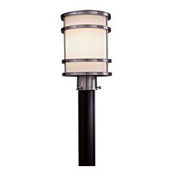 The Great Outdoors - The Great Outdoors 9806-144-PL Brushed Stainless Steel Bay View Energy - Bay View One Light Post Sconce Energy Star Rated Fixture Etched Opal Glass Post or Pier Mount Not Included and Sold Separately 1 26w Triple PL with 120V LVS Electronic Ballast (Bulb Included)