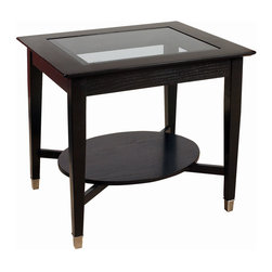 Bassett Mirror - Novello Rectangle End Table - Novello features a dark burgundy smoked finish highlighted by beveled smoked glass and soft brushed nickel accents. RTA. Measures: 24 in. W x 28 in. D x 24 in. H. Part of the Novello Collection.