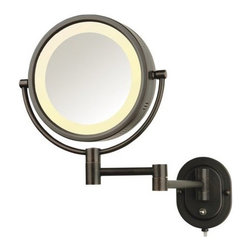 "Jerdon - Jerdon HL65BZ 8"" Wall Mount Halo Lighted Mirror in Bronze - Jerdon-HL65BZ 8"" Wall-Mount Halo Lighted Mirror in BronzeWall mounted mirror"