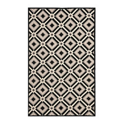 Ballard Designs - Morelos Indoor/Outdoor Rug - Black, white and gray colors. Sizes are approximate. Vacuum regularly; brushless attachment recommended. The geometric tile pattern is hand-hooked from soft, easy-care polypropylene fibers for covered outdoor living spaces and indoor high-traffic areas, like a mudroom or kitchen. This durable rug is mildew- and fade-resistant. To clean, just wash with mild soap or rinse with a hose. Use of a rug pad is recommended.Morelos Indoor/Outdoor Rug features:  . . .