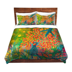 DiaNoche Designs - Duvet Cover Microfiber by Kim Ellery - Everything is Rooted in Love - DiaNoche Designs works with artists from around the world to bring unique, artistic products to decorate all aspects of your home.  Super lightweight and extremely soft Premium Microfiber Duvet Cover (only) in sizes Twin, Queen, King.  Shams NOT included.  This duvet is designed to wash upon arrival for maximum softness.   Each duvet starts by looming the fabric and cutting to the size ordered.  The Image is printed and your Duvet Cover is meticulously sewn together with ties in each corner and a hidden zip closure.  All in the USA!!  Poly microfiber top and underside.  Dye Sublimation printing permanently adheres the ink to the material for long life and durability.  Machine Washable cold with light detergent and dry on low.  Product may vary slightly from image.  Shams not included.