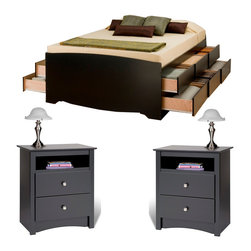 Prepac Furniture - Prepac Sonoma Black 3PC Bedroom Set (Tall Double/Full Platform Storage Bed and T - This Sonoma Black 3 Pcs Bedroom Set: Tall Double / Full Platform Storage Bed in Black with 12 Drawers and 2 Drawer Tall Night Stand with Open Cubbie in Black. Thanks to decorative details it perfectly well will approach to various conditions of a bedroom.    Sonoma 2 Drawer Tall Night Stand with Open Cubbie in Black: