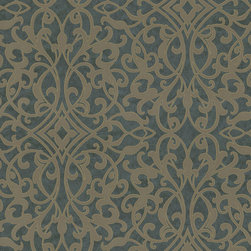 Color Floral Contour Wallpaper, Cyanide, Bolt - • Vinyl Covered Paper