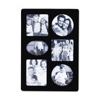 """Lawrence Frames - Black Wood Multi 6 Opening Picture Frame - Black wood 6 opening collage. Opening sizes are: two 3.25"""" square, two 3.25"""" Round, one 3"""" x 4"""", and one 2.25"""" x 3.25"""" oval. Overall size 8 3 8"""" x 12"""" x .625"""". Comes with quality easel backing for vertical or horizontal tabletop display, and hanger for vertical or horizontal wall mounting. Comes individually boxed."""