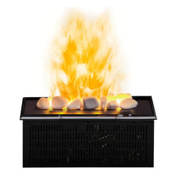 ClassicFlame - Dimplex OptiMyst Electric Fireplace Cassette Insert w/ Rocks - DFI400RH - Using ultrasonic technology, the Opti-Myst Cassette DFI400RH produces a fine mist to create the illusion of smoke and flames. This Dimplex Optimyst unit features a white rock ember bed and on/off remote control. The DFI400RH plugs into a standard household outlet.