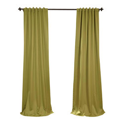 """Exclusive Fabrics & Furnishings, LLC - Alpaca Tan Blackout Curtain - SOLD PER PANEL. 100% Polyester. 3"""" Pole Pocket with  Back Tabs. Unlined. Imported. Weighted Hem. Dry Clean Only."""