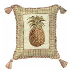 123Creations - Pineapple Petit Point 12 x 14 Pillow - -100% Wool Hand Embroidered 123Creations - C531-12X14