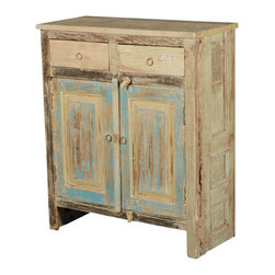 "Sierra Living Concepts - Paint Box Rustic Reclaimed Wood 34"" Storage Cabinet - Everybody needs extra storage and counter space. Our Paint Box Rustic Free Standing Cabinet makes it easy to add a cupboard to the kitchen, a vanity to the bathroom or a storage unit to your workroom or bed room. This solid hardwood stand-alone cabinet is built with eco-friendly reclaimed wood from Gujarat. The old wood surfaces have been seasoned over time and are naturally distressed."