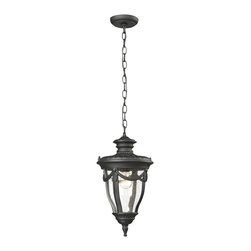 Elk Lighting - Elk Lighting Anise Collection 1 Light Outdoor Pendant In Textured Matte Black - - 1 Light Outdoor Pendant In Textured Matte Black - 45078/1 in the Anise collection by Elk Lighting Classically inspired, the Anise collection has a solid cast aluminum construction with clear seedy glass and a Textured Matte Black finish.  The end of the arm has a soft petal floral design while a draping detail around the glass adds a traditional flair.  Outdoor pendant (1)
