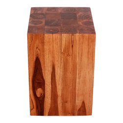 Kammika - Block Hollow Farmed Teak 12x12x18 inch Height w Eco Friendly Livos Chestnut Oil - Our Farmed Teak Sustainable Wood Block Hollow 12 inch square x 18 inch height Block Hollow with eco friendly, natural Livos Chestnut Oil Finish is made to look like a block of squares, but is easily transported, as inside is hollow. On the ends is a collage of tree rings from each branch that is squared to make this visually stunning block of Farmed Teak Wood. This impressive piece can be placed together to form a side or hallway entry table. They can be used in pairs to create a party dining area and then placed back into separate rooms; or can be used in the pool, patio, or garden area. This item also comes in a 12 inch square by 23 inch height size to enjoy indoors or outdoors. Classic lines made with Farmed Teak expose the natural grain of the logs. Eco friendly Livos Chestnut Oil finish creates a water resistant and eco friendly food safe finish. The color range is in the rich dark brown tone range that will darken as the wood ages. These natural oils are translucent, so the wood grain detail is highlighted. There is no oily feel and cannot bleed into. Hand crafted from a sustainable Thai Farmed Teak wood species, we make minimal use of electric hand sanders in the finishing process. All products are dried in solar or propane kilns. No chemicals are used in the process, ever. We use only certified Green Livos oils - eco friendly, all natural, water resistant, and food-safe - from Germany. Each eco friendly functional art piece is packaged with cartons from recycled cardboard with no plastic or other fillers. As this is a natural product, the color and grain of your piece of Nature will be unique, and may include small checks or cracks that occur when the wood is dried. Sizes are approximate. Products could have visible marks from tools used, patches from small repairs, knot holes, natural inclusions or holes. There may be various separations or cracks on your piece when it arrives. There may be some slight variation in size, color, texture, and finish color.Only listed product included.