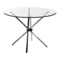 Eurostyle - Eurostyle Hydra 42 Inch Round Glass Dining Table w/ Chromed Steel Base - 42 Inch Round Glass Dining Table w/ Chromed Steel Base belongs to Hydra Collection by Eurostyle Make any meal more interesting with the chic look of the Hydra Glass Round Dining Table. This table is sleek, modern, and will instantly enhance any dining area. This fabulous table is an ideal choice for any space seeking that extra touch of glamour, which the Hydra Glass Round Dining Table will effortlessly provide. The Hydra Glass Round Dining Table features a base made of tubular steel. Its base is perfectly paired with a 3/8��_ glass top with a pencil edge polish. The Hydra Glass Round Dining Table is available with your choice of a clear or frosted glass top. Table Base (1), Table Top (1)