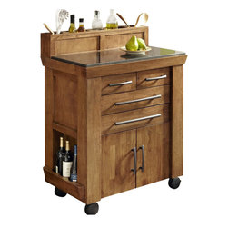 "Home Styles - Home Styles Vintage Gourmet Kitchen Cart, Black and Oak Finish - Home Styles - Kitchen Carts - 501895 - The Vintage is the quintessential Kitchen Cart for the gourmet food and wine connoisseur in need of a"" Ditional space. Consequential and expertly designed The Vintage Gourmet Kitchen Cart by Home Styles is a perfect a"" Dition to any kitchen. Easy mobility for use during parties and gatherings."