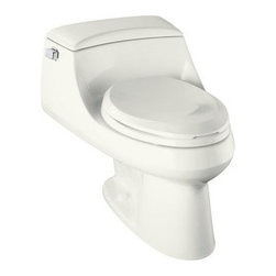 """Kohler - Kohler K-3466-0 White San Raphael San Raphael One-Piece Elongated - San Raphael(tm) one-piece elongated toilet with concealed trapway, French Curve(R) Quiet-Close(tm) toilet seat with Quick-Release(tm) functionality and left-hand trip leverThe San Raphael toilet features a contemporary, low-profile design for the modern bath or powder room. The concealed trapway on this model facilitates easy cleaning and enhances design while the Ingenium flushing system delivers complete 3.5-gallon performance in a 1.6-gallon package. For 12"""" rough-in installations, the toilet has an elongated bowl and includes a French Curve toilet seat and a Polished Chrome trip lever.    29""""L x 20-3/8""""W x 23-1/4""""H  Ingenium(R) flushing system One-piece toilet 12"""" rough-in Includes French Curve Quiet-Close toilet seat, Quick-Release functionality, and trip lever, less supply"""