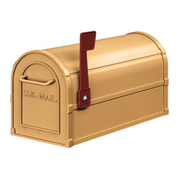 "Salsbury Industries - Antique Rural Mailbox - Brass - Made entirely of aluminum, Salsbury U.S.P.S. approved 4800 series antique rural mailboxes are available in four (4) attractive powder coated finishes.  These mailboxes provide an antique look that adds elegance to any home.  Each antique rural mailbox features a 1/8"" thick extruded aluminum body and a 1/8"" thick die cast aluminum front door and rear cover.  Each mailbox includes a magnetic door catch and an adjustable burgundy signal flag.  The die cast door is attached to the body with a full width stainless steel hinge allowing for smooth operation.  Antique rural mailboxes can be mounted on standard, classic, decorative or deluxe mailbox posts, spreaders or a base of your choice.  Antique rural mailboxes are approved for U.S.P.S. curbside mail delivery and are manufactured to USPS-STD-7B specifications.  Salsbury Industries is an ISO 9001:2008 certified company and has excelled in the field of manufacturing since 1936."