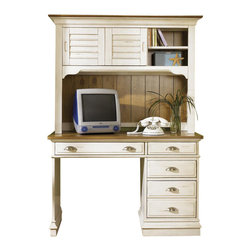 Liberty Furniture - Ocean Isle Student Desk w Hutch - Bottom file drawers. Wood drawer glides. English dovetail construction. Flip down keyboard tray. Bead-board back panel. Satin nickel knob. Cup hardware. Complete dust proofing. Hutch with shutter style sliding doors. One adjustable shelf behind sliding doors. Warranty: One year. Made from select hardwoods and pine veneers. Distressed bisque with natural pine finish. Made in Vietnam. Compartments: 13 in. W x 12 in. D x 12 in. H. Desk: 44 in. W x 22 in. D x 30 in. H (103 lbs.). Hutch: 50 in. W x 16 in. D x 38 in. H (86 lbs.)Encourage your child's good study habits with the Ocean Isle student desk and hutch set. A drop-front pull-out keyboard makes computer work a cinch, and the handy file drawer will keep all the papers organized. This attractive desk set is also great for bill-paying in the kitchen or home office.