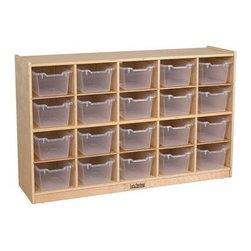 Ecr4kids - Ecr4Kids Kids Classroom Toy Storage Cabinet With 20 Tote Bins/Trays Birch - 20-Cubbie Classroom Storage Cabinet (with 20 Clear Bins)