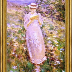 """Theodore Robinson-16""""x24"""" Framed Canvas - 16"""" x 24"""" Theodore Robinson A Sweet Girl Graduate framed premium canvas print reproduced to meet museum quality standards. Our museum quality canvas prints are produced using high-precision print technology for a more accurate reproduction printed on high quality canvas with fade-resistant, archival inks. Our progressive business model allows us to offer works of art to you at the best wholesale pricing, significantly less than art gallery prices, affordable to all. This artwork is hand stretched onto wooden stretcher bars, then mounted into our 3"""" wide gold finish frame with black panel by one of our expert framers. Our framed canvas print comes with hardware, ready to hang on your wall.  We present a comprehensive collection of exceptional canvas art reproductions by Theodore Robinson."""